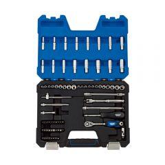 """Draper 16448 MM/AF Combined Socket Set, 1/4"""" Sq. Dr. (75 Piece)"""
