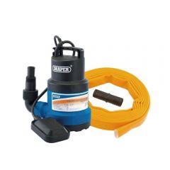 Draper 61815 Submersible Clear Water Pump Kit with Layflat Hose & Adaptor, 125l/min, 5m x 25mm, 350w