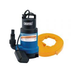 Draper 61814 Submersible Dirty Water Pump Kit With Layflat Hose & Adaptor, 200l/min, 10m x 25mm, 350w