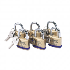 Draper 67659 Solid Brass Padlocks with Hardened Steel Shackle, 40mm (Pack of 6)