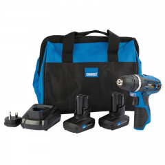 Draper 99722 Draper Storm Force 10.8V Power Interchange Rotary Drill Kit (+2x 4Ah Batteries, Charger and Bag)