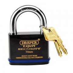 Draper 64195 Heavy Duty Padlock and 2 Keys with Super Tough Molybdenum Steel Shackle, 70mm