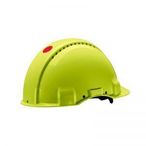 3M PELTOR Hard Hat Helmet G3000 with Uvicator Sensor, Ratchet suspension, Ventilated, Lamp Holder, Hi-Viz, G3000NUV-10-GB