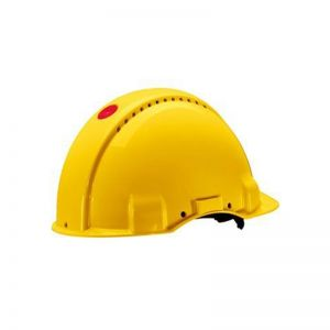3M PELTOR Hard Hat Helmet G3000 with Uvicator Sensor, Ratchet suspension, Dielectric 440v, Yellow, G3001NUV-GU