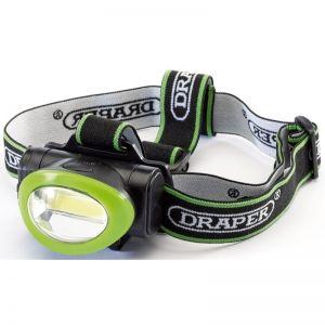 Draper 65967 Green 3W Cob LED Head Lamp (3x AAA Batteries) (Discontinued)
