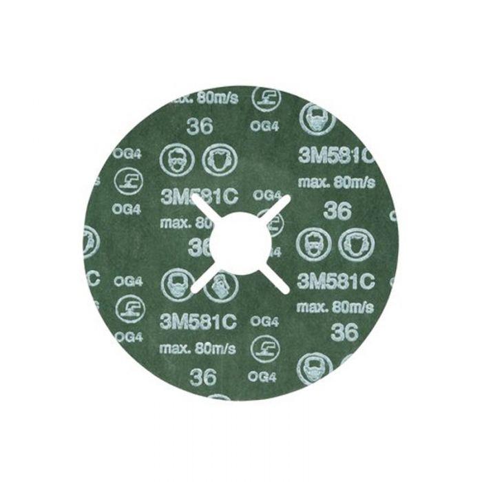 3M 61748 Fibre Disc 581C P36 115 mm x 22 mm - Pack of 50