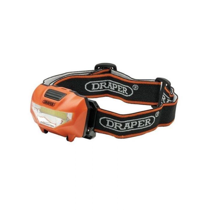 Draper 90072 3W COB LED Head Torch (3 x AAA Batteries Supplied)