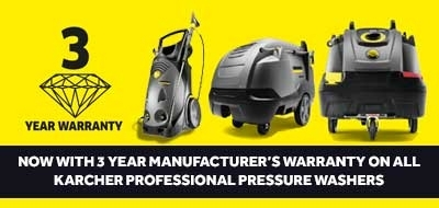 3 years warranty on Karcher HD and HDS professional power washers